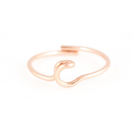 Bague lettre en gold-filled 14 carats rose Atelier Paulin