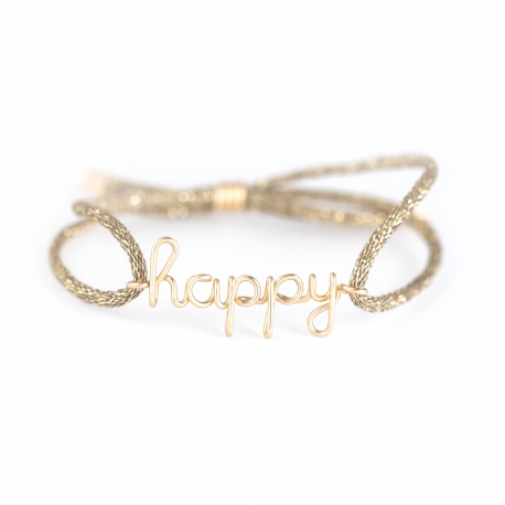 """happy"" woman cord bracelet Atelier Paulin"