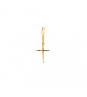 Nude Textured Cross Dangling Earring